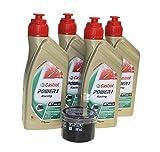 Öl Wechselset 4 Liter Castrol SAE 10W-50 Power 1 Racing 4 Takt inkl. Ölfilter Hiflo HF160 z.B. BMW S 1000, K 1200 1300, HP4 1000, Husqvarna Nuda 900