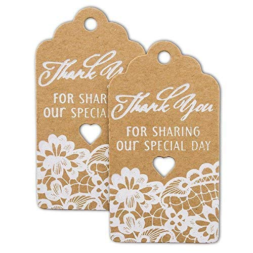 summer-ray 50 Weiß Druck Royale Thank You For Sharing Our Special Day Wedding Favor braun Kraft Geschenk Tags
