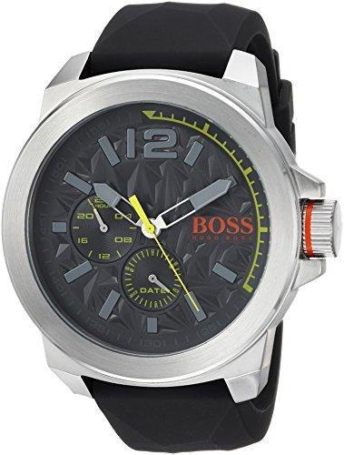 BOSS Orange Men's Quartz Stainless Steel and Leather Casual Watch, Color Grey (Model: 1513347)