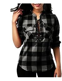 LILICAT Women's Ladies Plaid Lattice T-Shirt Tops Blouse, Plus Size Sexy Criss Cross Bandage Pocket Long Sleeve O-Neck Loose Casual Tee Tops Blouse Size 8-22
