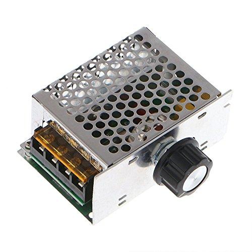 Lejin AC220V 230V Drehzahlregler Hochleistung bis 4000W SCR Spannung Regler mit Gehäuse Einstellbarer Spannungsregler Dimmer Motor Drehzahlregler Licht Thermostat Drehzahlregler (230v Motor)