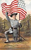 Military Comic Postcard, Old Vintage Antique Post Card Military Man with Flag Unused