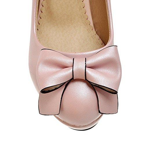 AgooLar Damen Rein Pu Leder Hoher Absatz Rund Zehe Ziehen Auf Pumps Schuhe Pink
