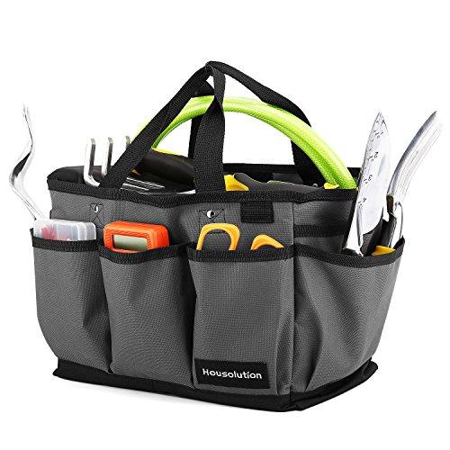 Housolution Garten Werkzeugtasche, Deluxe Garten Werkzeug Aufbewahrungstasche und Gartengerätetasche mit Kleinen Taschen, Verschleißfest und Wiederverwendbar,Grau & Schwarz Deluxe Gadget Bag