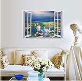 hemeibingqt hemeibingqt Wandaufkleber Schwan Wasserdicht Home Decoration Selbstklebend Vinyl DIY PVC 50 * 70cm