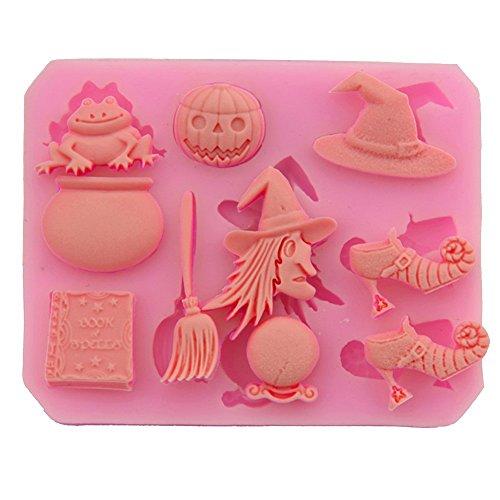 Hacoly Halloween Hexe Silikon Kuchen Formen Muffin Cookie Mould Schokolade handgemachte Seife Eis Zucker Handwerk Backen Bakeware DIY 3D Plätzchen Schimmel Bakeware formen Tool - Rosa