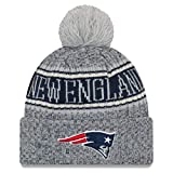 New Era New England Patriots Beanie NFL 2018 Sideline Sport Reverse Knit Grey/Navy - One-Size