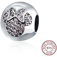 HMILYDYK - Abalorio con forma de la silueta de Minnie Mouse con cristales de circonita Swaroski Elements y plata de ley 925 para pulseras de Pandora.