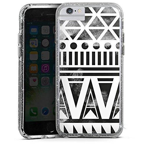 Apple iPhone 8 Bumper Hülle Bumper Case Glitzer Hülle Ethno Modern Summer Bumper Case Glitzer silber