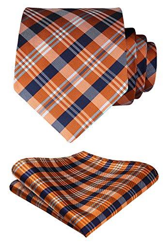 Hisdern Extra Long Check Krawatte Taschentuch Herren Krawatte & Einstecktuch Set Orange und Blau
