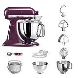 KitchenAid Küchenmaschine | VORTEILS SET | Artisan 5KSM175PS Eiscreme Paket | inklusive Speiseeismaschine und Eisportionierer für hausgemachte Dessert-Kreationen (Holunderbeere)