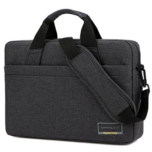 Brinch 15,6 Zoll Laptop Tasche tragbar Businesstasche Leichtgewichts Umhängetasche Handtasche mit Trageriemen für Laptop/Tablet/MacBook/Chromebook/Ultrabook/Herren/Damen,Schwarz