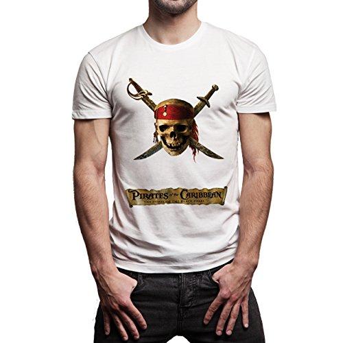 Skull Pirates Of The Carribian Herren T-Shirt Weiß