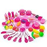 YAKOK 46Pcs Ustensiles de Cuisine Enfant Batterie Cuisine Jouet Imitation Cuisine Kit...