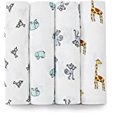 Aden + Anais Classic Muslin Swaddle Blanket 4 Pack (White)