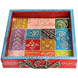 Apka Mart The Online Shop Hand Crafted Square Shaped Wooden Tray Set (Multicolour, 8 Inch)