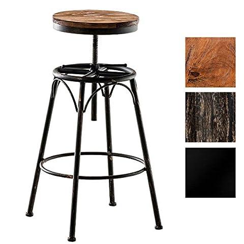 CLP Tabouret de bar BEAM style industriel, mélange de bois et métal, rond, réglable en hauteur en. 70 - 90 cm bronze