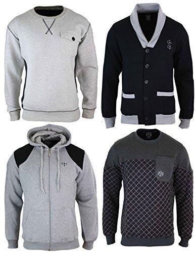 Sweatshirt homme pull ou gilet capuche col rond ou en V mélange coton style décontracté gris-capuche