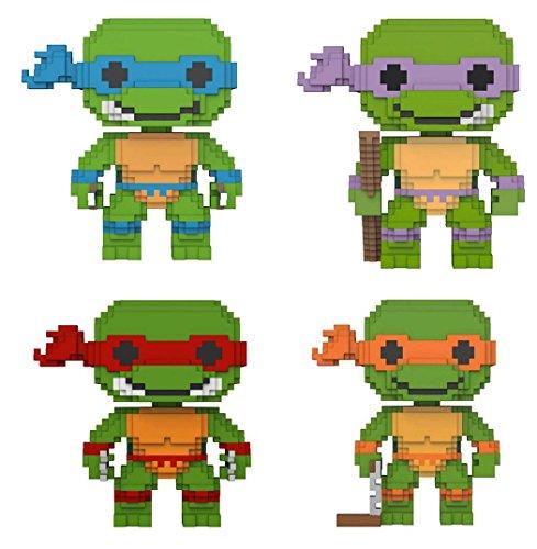 (Funko POP! Teenage Mutant Ninja Turtles: 8-Bit Leonardo + 8-Bit Donatello + 8-Bit Raphael + 8-Bit Michelangelo - Vinyl Figure Set NEW)