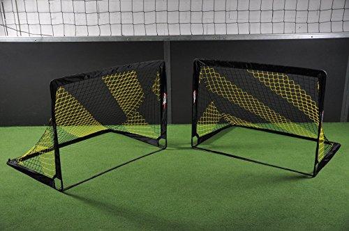 Fußballtor POP UP - 2 Größen zur Auswahl - 2er Set - faltbares Garten Fußballtor für Kinder in schwarz/gelb von POWERSHOT® (120 x 90cm)