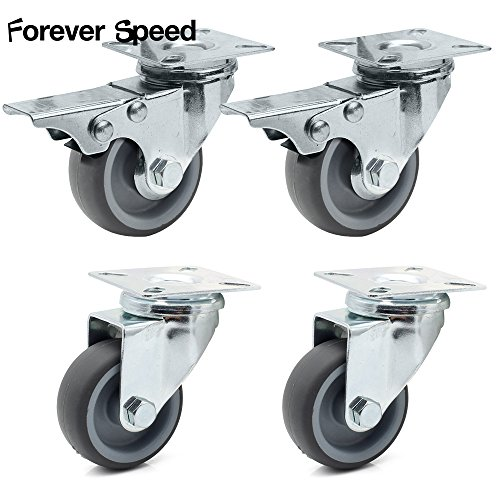 Forever Speed 4 Stück 50 mm Transportrollen Strandkorbrollen Lenkrolle und Lenkrolle mit Bremse Möbelrollen 150KG/set