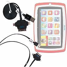 Cavo Sincronizzazione / Carica 3 IN 1 Per Tablet Lisciani Giochi Mio Tab Laptop Evolution HD, Special Edition - 57474 | 46065 - Carotina Mio Tab Preschool 3.0 [Versione 2014]- USB + MicroUSB + Lightning - DURAGADGET