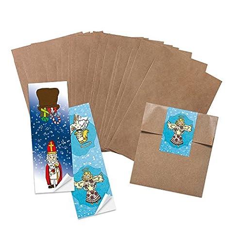 25 Stück kleine braune Papiertüten Geschenktüten Kraftpapier in 13 x 18 + 2 cm (Lasche) Papier-Flachbeutel als Verpackung für Mitgebsel give-aways Gastgeschenke Produkte zum selber-machen