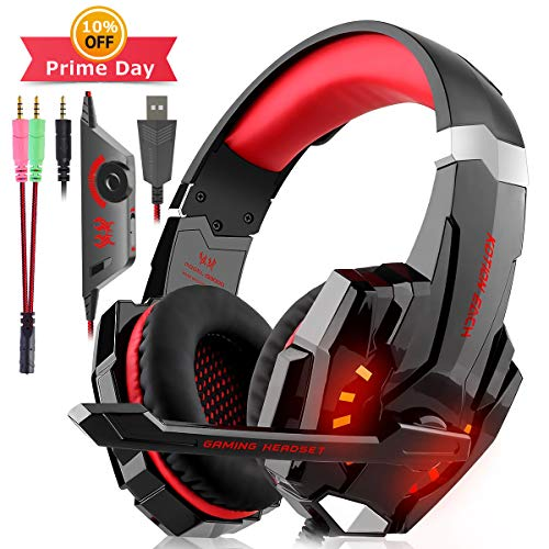 Cuffie Gaming per PS4, Cuffie Over Ear Cuffie Cancellazione Rumore con Microfono Controllo del Volume e Luce LED Cuffie da Gaming per PS4 Xbox One Nintendo Switch PC Laptop (Rosso)