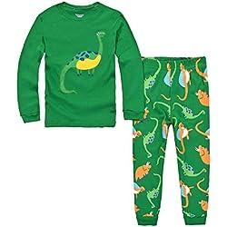 DAWILS Pijama para Niños de Dinosaurio Verde - Manga Larga - Pijama dos piezas 3 años