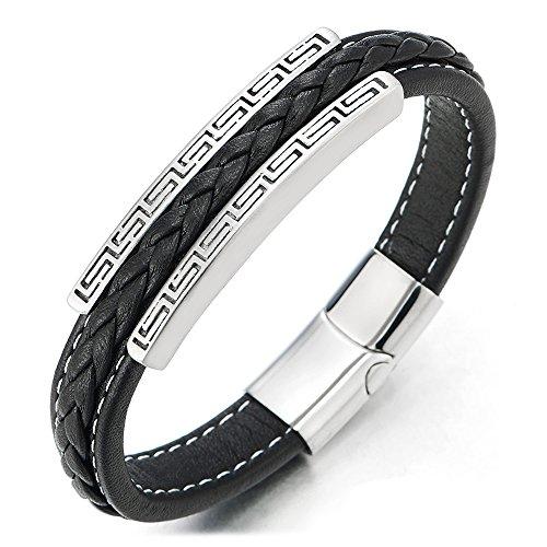 COOLSTEELANDBEYOND Herren Edelstahl Griechischen Schlüsselmuster ID Identifizierung Schwarz Geflochtene Leder Armreif Armband