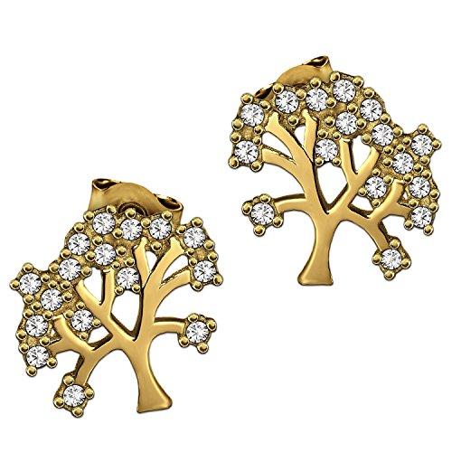 CLEVER SCHMUCK Goldene Ohrstecker Lebensbaum 9 mm mit vielen Zirkonias in weiß verziert glänzend 333 GOLD 8 KARAT im Etui