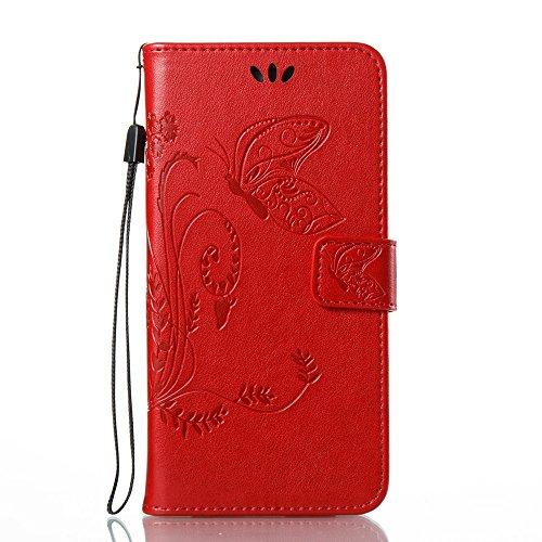 EKINHUI Case Cover Horizontale Folio Flip Stand Muster PU Leder Geldbörse Tasche Tasche mit geprägten Blumen & Lanyard & Card Slots für Samsung Galaxy J7 Prime ( Color : Red ) Red
