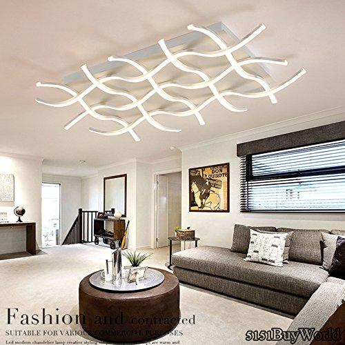 5151BuyWorld Acryl Aluminium Moderne Led-decken-kronleuchter Licht Für Wohnzimmer Schlafzimmer Arbeitszimmer AC85-265V Decke Kronleuchter[Kaltes Weiß & 1000x680x120mm / 119W] -