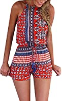 Earnest Womens Casual Slim Backless Floral Printed Sexy Romper XS Red