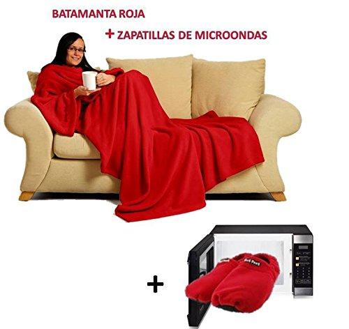 Batamanta-manta-para-sofa-con-mangas-con-bolsillo-y-zapatillas-de-microondas--Pijama-Bata-manta-Azul-y-zapatillas-calientes-