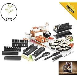 Clahshop LUPSO - Kit per Sushi Maki, Completo di Accessori da Cucina Giapponese, 11 Pezzi, con Coltello Esperto per Sushi, per Cucinare Riso, Libro di Ricette in Omaggio ( in francese)