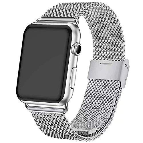 INZAKI Kompatibel für Apple Watch Armband mit Hülle 42mm/44mm,Edelstahl Netz Schlaufen Armband für iWatch Series 4/3/2/1,Sport,Edition,Silber