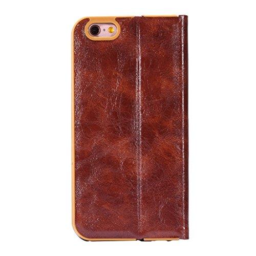GR iPhone 6 Plus & iPhone 6s Plus Crystal Texture PC Full Coverage Horizontale Flip Leder Cover Case mit Halter & Card Slots ( Color : Black ) Brown