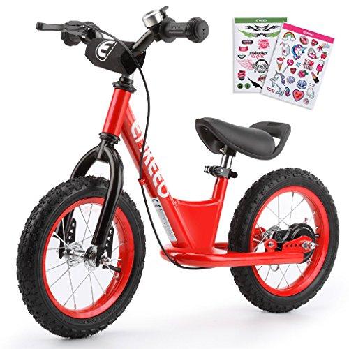 ENKEEO - 14'' Bicicleta sin Pedales, Bicicleta de Equilibrio, Entrenamiento Transicional en Bicicleta para lo Niños, Asiento Ajustable y Manillares Tapizados para Niños Pequeños de menos de 49'' 130 cm de altura, Rojo