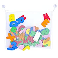 Paizizi Bath Letters Numbers Foam 36-pcs Alphabet Baby Bath Toys with Bath Toy Storage Net Organizer (45x35cm)