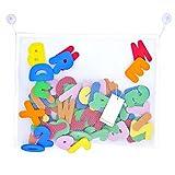 Pazi Lettere Bagno Numeri in Schiuma 36-pezzi Alfabeto Giochi per Bagnetto per Bambini con Rete Organizzatore per Giocattoli Bagno (45x35cm)