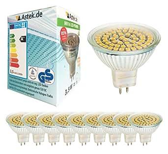 10er Pack Astek LED MR16 GU5.3 Spot Warmweiss 3,5 W / ersetzt 30W / 300 Lumen / X13 WOW!