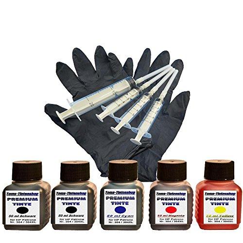 Preisvergleich Produktbild Premium Tinte Set Nachfülltinte 5 x 50 ml Tinte für Patronen HP 304 black und color plus 4 Nachfüllspritzen mit Nadeln und 1 paar Latexhandschuhe