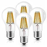 Hizashi 10 W A60 LED Glühlampe, 1055LM, 80W Glühlampenlicht -Äquivalent, Warmweiß 2700K, E27 LED Glühbirnen Filament, Nicht-Dimmbar - 4er Pack