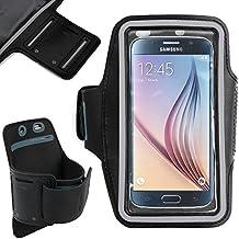 DURAGADGET Brazalete Deportivo Negro Para Samsung Galaxy S6 / S6 Edge / S3 Neo / Trend Plus S7580 / J1 / Z1 / Grand Prime - Con Bandas Reflejantes Y Bolsillo Para Llave
