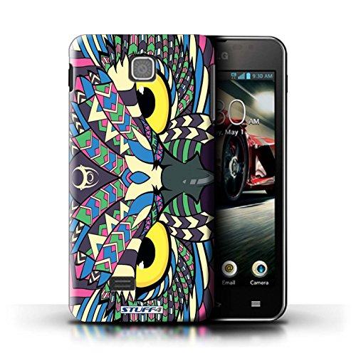 Kobalt® Imprimé Etui / Coque pour LG Optimus F5/P875 / Loup-Vert conception / Série Motif Animaux Aztec Hibou-Couleur