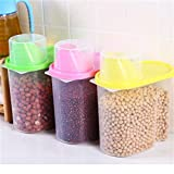 House Of Quirk (Set Of 3) 1.8L Plastic Food Grain Candy Storage Box Containers Plastic Kitchen Food Cereal Storage Dispenser Rice Container
