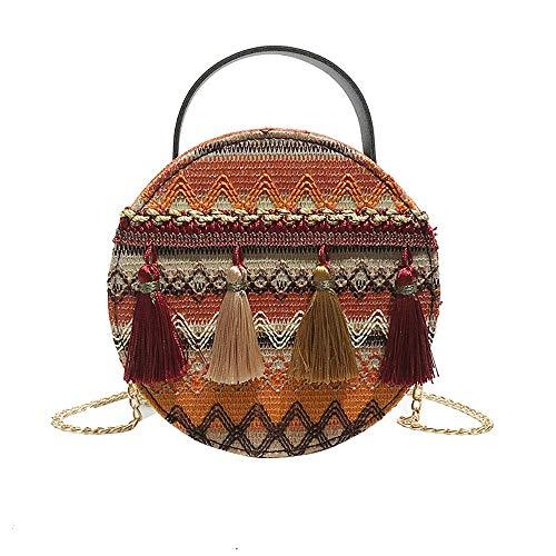 Skang Deman Messenger Bag Vintage Nationaler Stil Klein Runde Handtasche Mit Quasten Kette Schulterriemen Damentaschen Schulter Clutch Umhängetasche(Einheitsgröße,Gelb) -