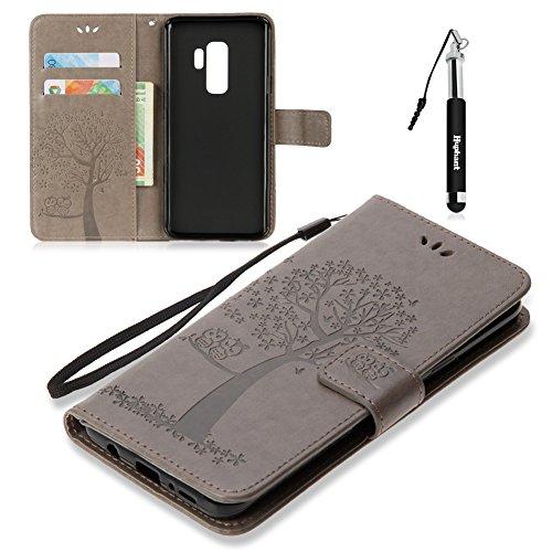 Huphant Galaxy S9 Hülle, Samsung Galaxy S9 Handy Hülle Leder Tasche Schwarz Schutzhülle Wallet Case für Samsung Galaxy S9 tascheStand Kartenfächer Magnet -Grau