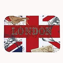 """rioengnakg Londres bandera de Reino Unido alfombrilla de baño Coral Fleece zona alfombra alfombrilla de puerta entrada alfombra alfombrillas para frontal exterior puerta entrada alfombra, 16"""" x 24""""(40 x 60cm)"""